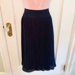 JCrew Factory pleated navy midi skirt